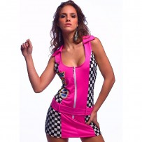 Sexy Pink Checkered Racing Show Girls Car Costume (N1206)